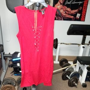 Forever 21 jrs sz medium sexy red tie front dress